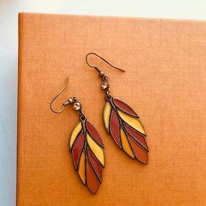 ZINNIA Bohemian feather earrings